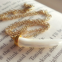 White Horn Necklace // Simple Minimalist Gold Jewelry by The Black Star Boutique
