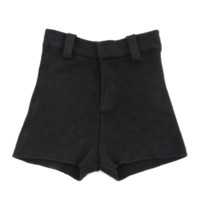 High Waist Ribbed Knit Shorts