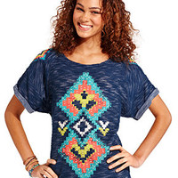 Eyeshadow Juniors Top, Short Sleeve Tribal-Print Sweatshirt - Juniors Tops - Macy's