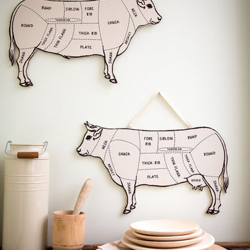 Decorative BULL  for your kitchen Meat cutting chart useful wall decoration