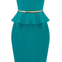 Oasis Shop | Deep Green Charlie Peplum Dress | Womens Fashion Clothing | Oasis Stores UK