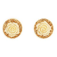 Rhinestone Rim Blossom Earrings: Charlotte Russe