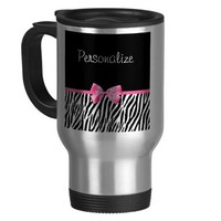 Trendy Black And White Zebra Print Pink Ribbon Coffee Mugs