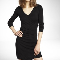 SURPLICE WRAP SIDE RUCHED SWEATER DRESS