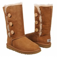 Kids UGG ' Bailey Button Triplet PG Chestnut Shoes.com