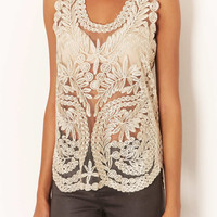 **Ellen Embroidered Vest by Navy - Tops - Clothing - Topshop USA