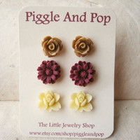 Chocolate, Wine & Cream Flower Stud Earrings by PiggleAndPop