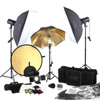 Square Perfect SP3500 Complete Portrait Studio Kit With Flashes Softboxes Gels & Barn Door & More!