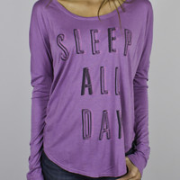 Sleep All Day Long Sleeve Tee -  - Junk Food Clothing