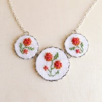 Embroidered floral necklace with silver toned findings by skrynka