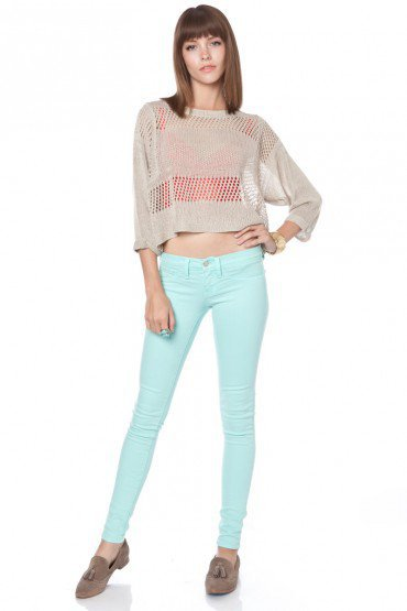 Taylor Colored Skinnies in Mint - ShopSosie.com