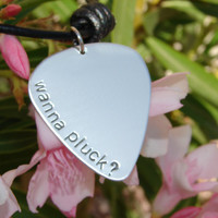 Wanna pluck sterling silver guitar pick necklace