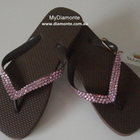 Brown Thongs, Flip Flops, Sandals Featuring Pink Swarovski Crystal BRPK