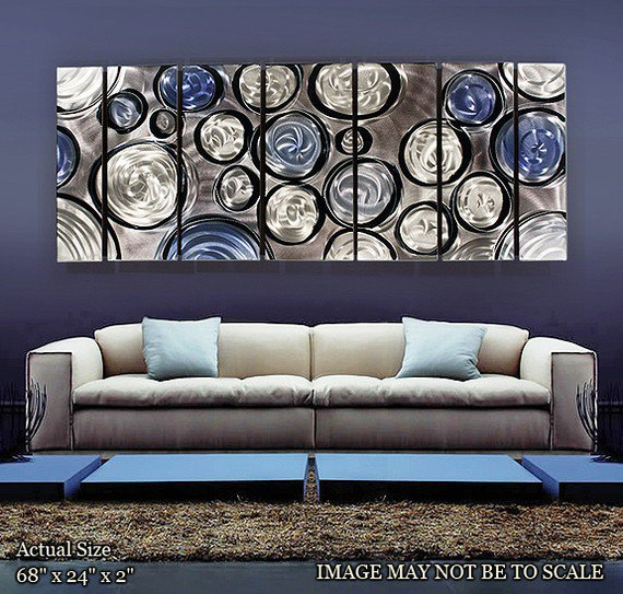 Metal Wall Art Painting / Abstract Rains of Blue by statements2000