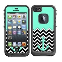 Skins Kit for Lifeproof iPhone 5 Case (skins/decals only) - Tiffany Blue Nautcial Anchor and Chevron Pattern