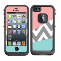 Skins Kit for Lifeproof iPhone 5 Case (skins/decals only) - Pink and Baby Blue Design with grey Chevron Pattern Cute