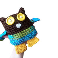 Owl Toy hand knit plushie stuffed animal in by StitchesandHearts