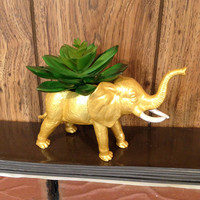 Up-cycled Gold Elephant Planter