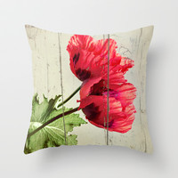 The Things We Remember - red poppy photo on wood texture Throw Pillow by micklyn