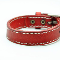 Women leather bracelet Red Real Leather bracelet Charm Bracelet  high quality bracelet  C002