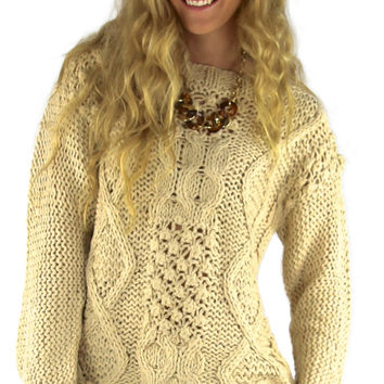 Cable Knit Pullover Sweater - Oatmeal | .H.C.B.