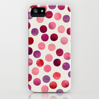 Watercolor Dots_Berry by zJacqueline and Garima iPhone & iPod Case by Jacqueline Maldonado