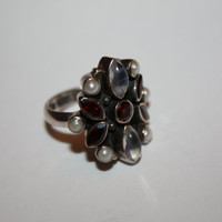 Vintage Ring Sterling Garnet Moonstone Pearl 1920s  Jewelry