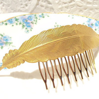 Large Gold Feather Hair Comb   Whimsical  Nature  by NestingPretty