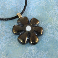 Flower Necklace, Handmade Necklace, Bronze Glass Flower, Flower Jewelry - Bronze Bloom - 2732 -1