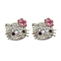 Large 3/4&quot; Swarovski Crystal Stud Earrings w/ Pink Flower Bow - Silver Plated