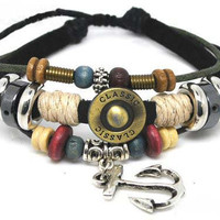 Soft men Leather Bracelet Metal Anchor Women by braceletcool