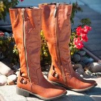DbDk Dennisa-3 Zipper Knee High Rider Boot (Cognac) - Shoes 4 U Las Vegas