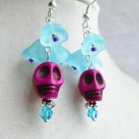 Purple Skull & Blue Flower Earrings- Day Of The Dead- Dio De Los Muertos