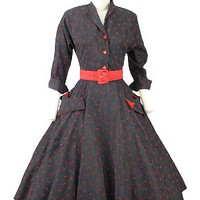 50s Vintage Swing Dress-1950s One of A Kind Dresses