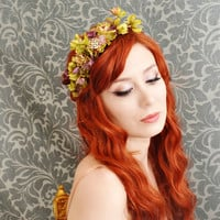 woodland flower crown, boho head piece, floral headband, hair accessory - florence