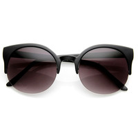 Retro Trendy Round Circle Cat Eye Semi Rimless Sunglasses 9108