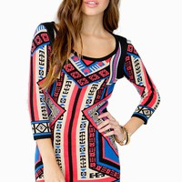 Mirror Printed 3/4 Sleeve Sweater Dress