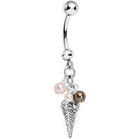 Handcrafted Ice Cream Cone Belly Ring MADE WITH SWAROVSKI ELEMENTS   Body Candy Body Jewelry