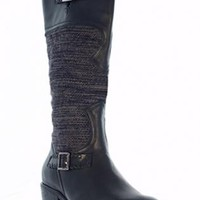 Black Leather & Wool Insert Boots