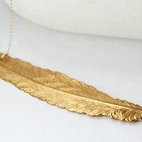 Feather Necklace, Gold - Free Spirit