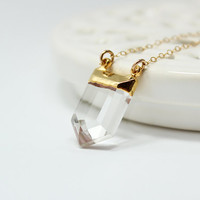 Long Crystal Quartz Necklace, Gold - Ice