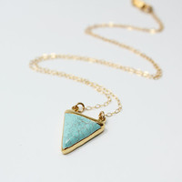 Turquoise Howlite Triangle Necklace, 24K Gold Edged - Calm Seas