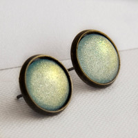 Icy Mint Post Earrings in Antique Bronze - Mint Green Glitter Shimmer Earrings
