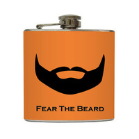 Fear the Beard Flask Black Beard Guys Orange by LiquidCourage