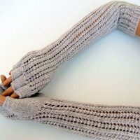Oatmeal Colored Half Finger Fingerless by myknittingworld on Etsy