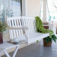 VIFAH Pleasant Bay White Painted Porch Swing with Optional Hardware