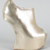 Privileged Keaton Metallic Peep Toe Heel Less Ankle Bootie