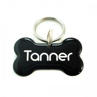 Black Dog Bone Shape Pet ID Tag | metamorphdesigns - Pets on ArtFire