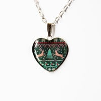 Ugly Christmas Sweater with Deers - Handmade Heart Cameo Pendant Necklace - Christmas Jewelry -Funny Kitsch Gift Idea / Work Christmas Party