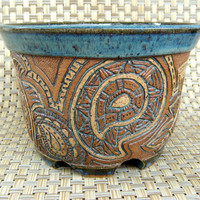 Hand Carved Paisley Planter  1219 by KittingerCarvedClay on Etsy